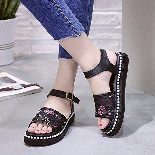 Damen Schuhe,Sannysis Sandalen Blumen Sommer Slip-on Flats Sandalen Casual  Damen Schuhe Schwarz ...