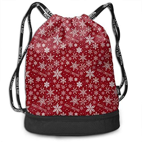 Juziwen Red Flower Large Drawstring Sport Backpack Sack Bag ()