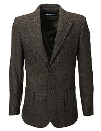 flatseven veste blazer en laine chevrons avec coudi re. Black Bedroom Furniture Sets. Home Design Ideas