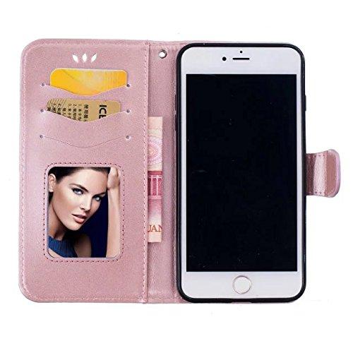 Etui pour iPhone 6S / iPhone 6 Amour Cuir Coque,Girlyard Flip Couverture Portefeuille de Protection Housse Rabattable Fermeture Magnétique Coquille Etanche et Antichoc Case pour iPhone 6/6S 4.7 Pouces Rose