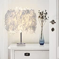 Vendimia Minimalista LED Sombra de Plumas Lámpara de Escritorio, COUTUDI Creativo Decoración del Hogar Mesilla de Noche Luz de Noche por Sala Sala de Bodas Cuarto