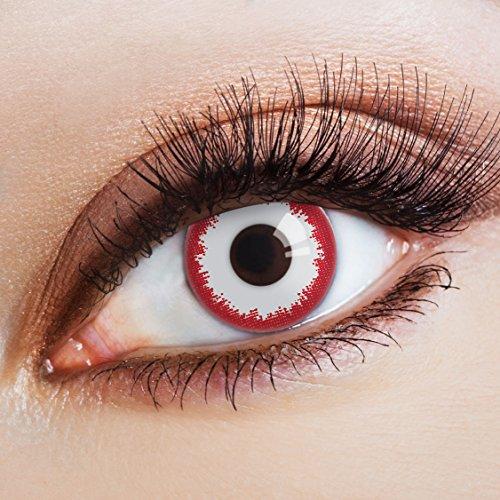 aricona Kontaktlinsen Farbige Kontaktlinse Spooky Zombie   - Deckende Jahreslinsen für dunkle und helle Augenfarben ohne Stärke, Farblinsen für Karneval, Fasching, Motto-Partys und Halloween - Spooky Clown Kostüm