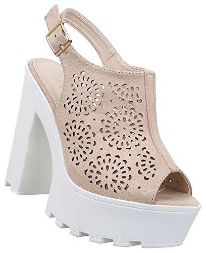 Damen Sandaletten Schuhe High Heels Stiletto Abendschuhe Business Club Pumps schwarz beige camel rot 36 37 38 39 40 41 Beige