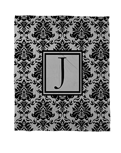 Manuelle holzverarbeiter & Weavers Bettbezug-, Monogramm Buchstabe J, Schwarz und Grau Damast (King-size-bett Gerahmt)