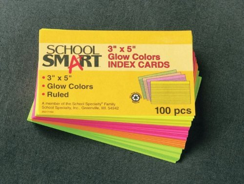 School Smart Heavyweight Plain Index Cards - 3 x 5 inches - Pack of 100 - Cherry by School Smart -