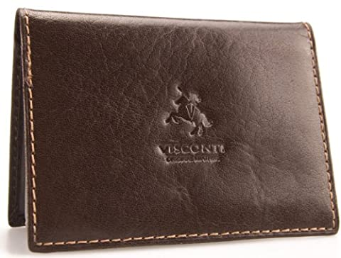 Visconti Leather Credit Card Holder With Plastic Inserts # TC1 - Brown