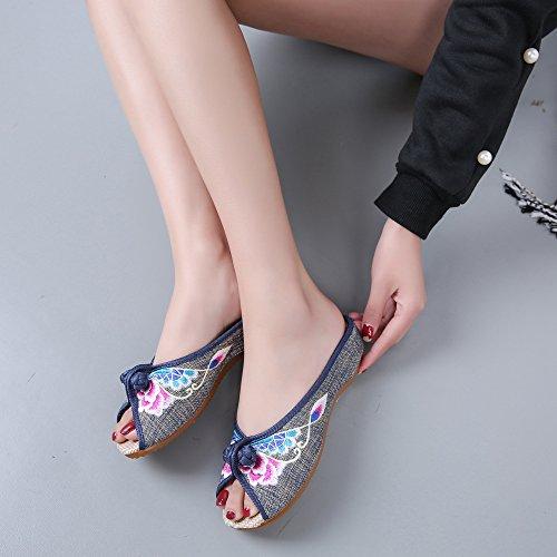 DESY scarpe ricamate, unico tendine, stile etnico, femminile caduta di vibrazione, modo, comodo, sandali Grey