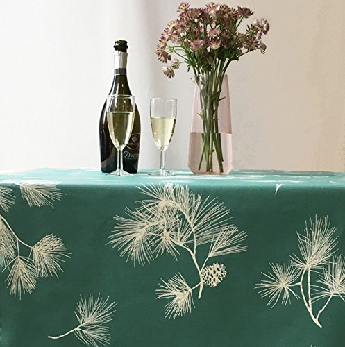 Fleur de Soleil - Nappe enduite Pin vert Dimension - Carrée 160x160cm, Finition - Non ourlée (coupe franche), Matière - Coton enduit