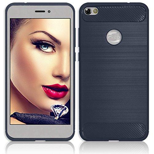 mtb more energy® Hülle Carbon für Samsung Galaxy S10+ | S10 Plus (SM-G975, 6.4\'\') | Dunkelblau | flexibel | TPU Case Cover Tasche Schutzhülle