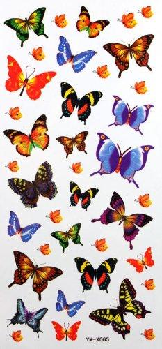 Autocollant de tatouage imperméable à l'eau de papillon de couleur enfants sexy tatouage autocollants