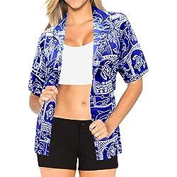 Blusas de la Camisa Hawaiana para Mujer nadan Mangas Cortas de la Playa del Traje de baño Azul Real s
