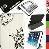 igadgitz 'Cover Mate Plus' Lederhülle für Apple iPad Mini 1. und 2. Generation Geeignet für iPad Mini 1. 2. 3. Gen Weiß & Schwarz Fee (Gummierte Plastiek)