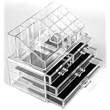 Cosmetic Make up Clear Acrylic Organiser Display Storage Acrylic Makeup Storage Jewellery Case Makeup Box with 4 Storage Drawers (Style B) by F-Fook