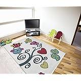 Kinder Teppich Eule weiss bunt Öko Tex verschiedene Größen Neu 120x170 cm