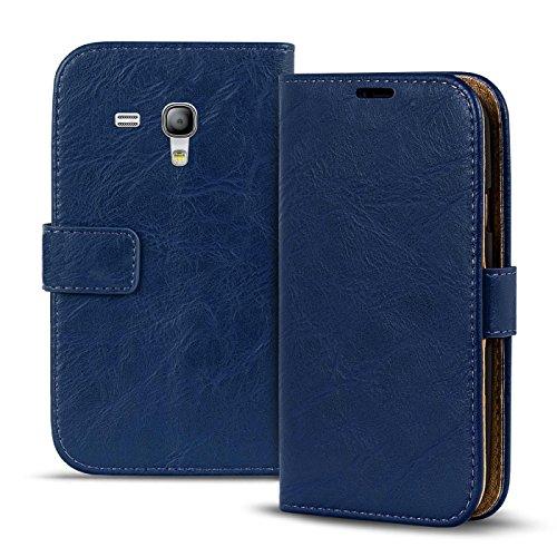 Samsung Galaxy S3 Mini Vintage Tasche Bookstyle Blau, PU LEDER Hülle Blau, Handyhülle Galaxy S3 Mini Flip Case Wallet, Booklet Cover Brieftasche Etui Schutzhülle mit Kartenfächer, Samsung Galaxy S3 Mini (4,0 Zoll (10,2 cm) (Samsung Case 4 Mini)