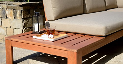 BackYard Furniture Luxury FSC Solid Hardwood Lounge Set with Cushions And Coffee Table