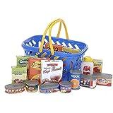 Un. Einkaufskorb mit viel Zubehör für Kaufladen ,Kinderküche Zubehör,Lebensmittel für Kinder Kaufladen