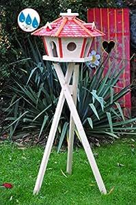 Holz-Vogelhaus BTV Wetterfest, mit Ständer/mit Standfuß und Silo,Futtersilo für Winterfütterung, Vogelvilla XXXL Vöglehus Vogelhäuschen, groß aus Holz SR60roM rote Holzschindel