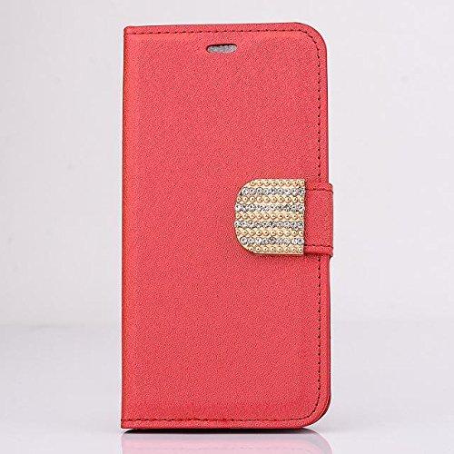 """inShang Hülle für Apple iPhone 6 iPhone 6S 4.7 inch iPhone6 iPhone6S 4.7"""", Cover Mit Modisch Klickschnalle + Errichten-in der Tasche + SILK PATTERN FLOWER DECORATION , Edles PU Leder Tasche Skins Etui diamond red"""