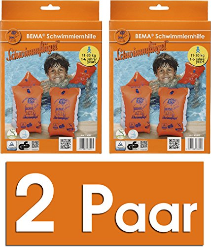 BEMA® Original Schwimmflügel, orange, Größe 0, 11-30 kg / 1-6 Jahre (2 Paar)