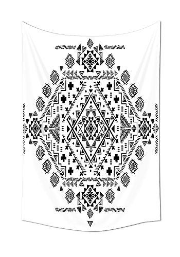 ionen Tapisserie Maya mit Prähistorische Geometrische Form Dreiecke und Linien drucken Wandbehang für Schlafzimmer Wohnzimmer Wohnheim schwarz weiß, multi, 8W By 10L Inch (Großhandel Disney Stoff)