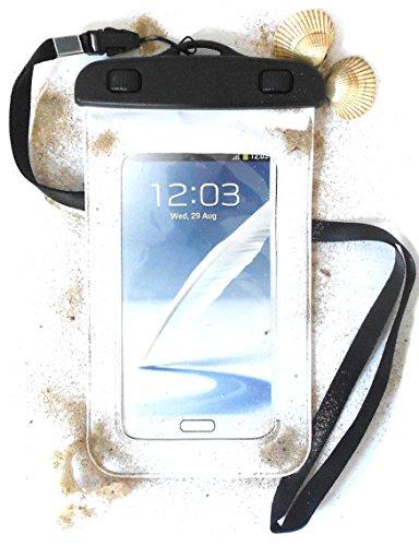 """PRESKIN - Wasserfeste Tasche bis 5.7 Zoll Display, Wasserdichte Smartphone Schutzhülle / Handy Hülle (Beachbag5.7\""""White) mit Touchscreen Funktion wie Schutzfolie / Displayfolie, Waterproof / water resistant mobile bag / pouch / case für Samsung Galaxy S7, S5, Note, mini, Motorola Moto G, X, Sony, Nokia, LG , Huawei, Apple iPhone 5S, 5C, 5, HTC Apple iPhone 6 wasserdicht nach IPX9 Zertifikat für Strand, Fahrradtour und Konzert"""