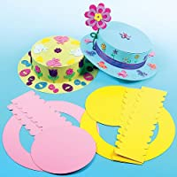 Look Good This Easter with these Fabulous bonnets.; Made from Strong Card and easy to assemble; Children will Love Decorating These with Easter stick-ons (not included).; 3Assorted Colours.; 26cm diameter.