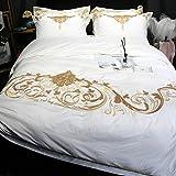 ZHUDJ Baumwolle 4 Set_100% Vier Sätze aus Baumwolle Satin Stickerei Flower Quilt Hochzeit Hochwertiger Bettwäsche, Die Edle (Weiß), 2/2.2 Bett Bettbezug 220 X 240 cm Bettwäsche 250*270 cm