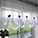 """Katiesboutique ltd Beautiful White Voile Net Curtain with Piping (55"""" x 29.5"""", Black)"""