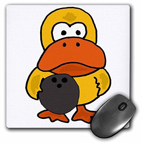 3dRose mp_270122_1 Mauspad, lustiges Dummy-Gelb, Ente, Bowling-Cartoon, 20,3 x 20,3 cm
