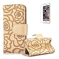 For iPhone 5 5S SE Case 4inch Cover [with Free Screen Protector], Funyye Elegant Premium Folio PU Leather Wallet Magnetic Flip Cover with [snap fastener] and [Credit Card Holder Slots] Stand Function Book Type Stylish Rose Printting Designs Full Protectio