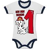 Shirtracer Geburtstag Baby - Ich Bin Schon 1 Feuerwehr Hund - 12-18 Monate - Weiß/Navy Blau - BZ19 - Zweifarbiger Baby Strampler für Jungen und Mädchen