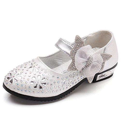 Sitaile bambina eleganti principessa scarpe di cristallo per ragazze festa di compleanno scarpe basse sandali bowknot ultimo design argento 27