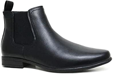 Mens Gents Classic Zip Up Chelsea Ankle Boots Faux Vegan Friendly Leather Smart Formal Work Casual Dealer Boot Shoes Size 6 7 8 9 10 11 12