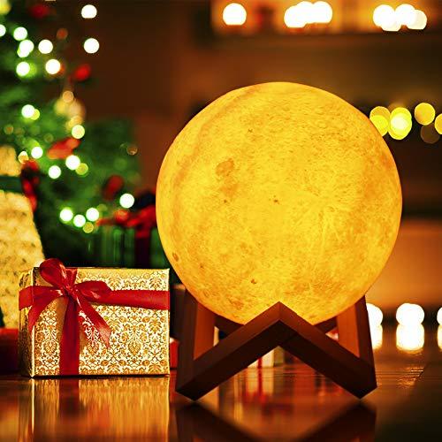 Zoweetek Lámpara Luna LED Luz Nocturna 3D 15 cm Control Táctil Inteligente Cargador USB Decoración para Casa Habitación Regalo Cumpleaños, Año Aniversario,etc. (5.9 Inch)