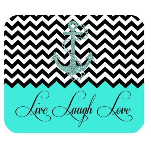 Hipster Quotes Live Love Laugh in Turquoise Colorblock Chevron with Anchor Rectangle Non-Slip Rubber Mousepad 7.08X8.66 inches/18X22 cm Mouse Pad (Chevron Mini-maus)