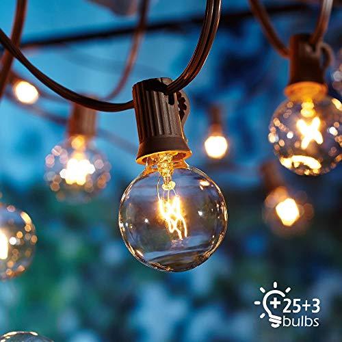 Lichterkette Außen, Lichterkette Gluehbirne Aussen,[Verbesserte Version] OxyLED G40 25FT Lichterkette Garten, Wasserdicht (25 Birnen,3 Ersatzbirnen, gelbliches Licht) - Klar, Drei Licht