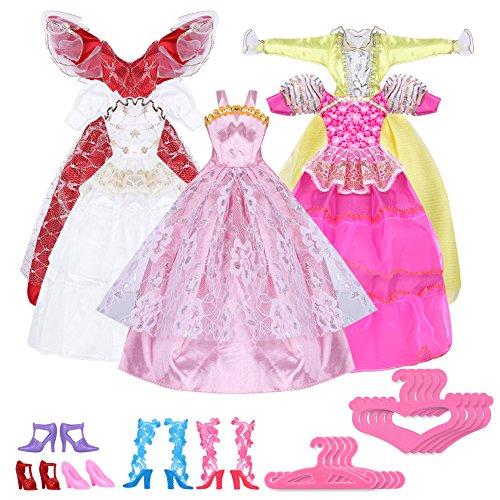 pinzhi-5-vestidos-hecho-a-mano-y-10-pares-de-zapatos-para-para-barbies-munecas-juguete-size-1