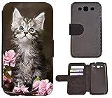 Flip Cover Schutz Hülle Handy Tasche Etui Case für (Samsung Galaxy S3 Neo, 1251 Baby Katze Kätzchen Grau Weiß)
