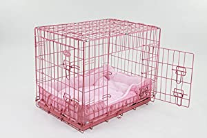 """Easipet 30"""" Pink Cage with Pink Fleece Dog Bed"""