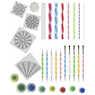 ANPHSIN 23pcs Mandala Dotting Tools Kits, Mandala Dotting Stencils, Mandala Punktierung Werkzeuge inkl. Mandala Dotting Schablone, Doppelseitige Punktierwerkzeuge, Acrylstäben und Farbtablett