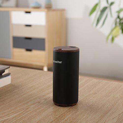 Finether Mini Luftreiniger raumluftreiniger luftwäscher mit Aktivkohlefilter Ozon-Sterilisation perfekt für Kühlschrank, Kleiderschrank, Schuhkarton, Schränke, Auto, USB-Ladung schwarz
