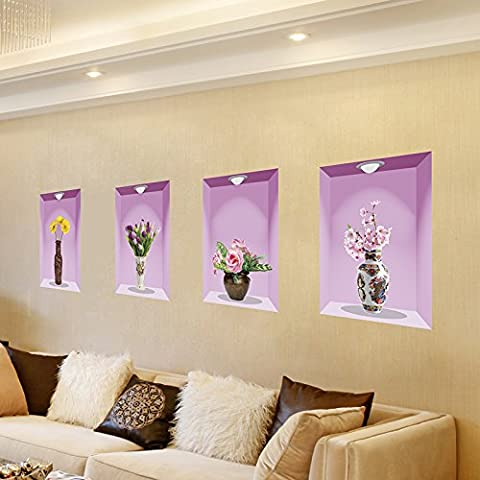 Pvc waterproof wall flower vases warm bedroom living room restaurant corridor staircase wall wall decoration 3D animation thoughtful