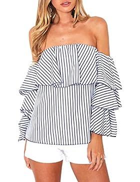 Simplee Apparel Simple vestido de la mujer de manga larga con volantes blusa camisa de rayas Ruffle Off Shoulder...