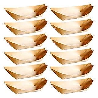 BESTONZON 50 Stücke einweg Holz tablett dienen Boote Teller Geschirr für Lebensmittel Kuchen Snacks knabberzeug