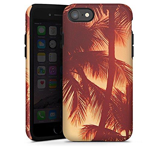 Apple iPhone X Silikon Hülle Case Schutzhülle Palmen Abendrot Urlaub Tough Case glänzend