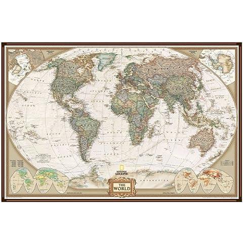 Mappa politica del mondo National Geographic (geografico nazionale) Pinboard – Stile esecutivo - Telaio in alluminio