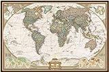 NATIONAL GEOGRAPHIC WELTKARTE EXECUTIVE AUF PINNWAND 92x61 CM IM BRAUNEN ALUMINIUMRAHMEN
