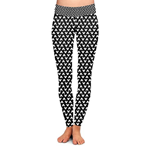 Queen of Cases Mouse Ears Polka Dots Black - L - Yoga Leggings - Black Dot Legging