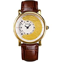 BINLUN 18k Gold Plated Watches for Men Waterproof Automatic Mechanical Watch with Calendar Date Brown Leather Strap